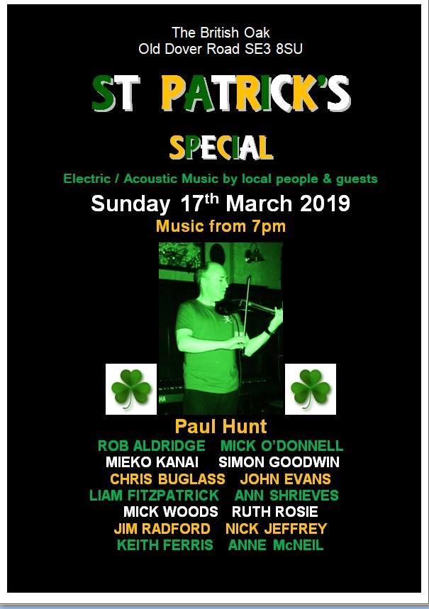 Sunday 17th March, St. Patricks Day Celebrations!!